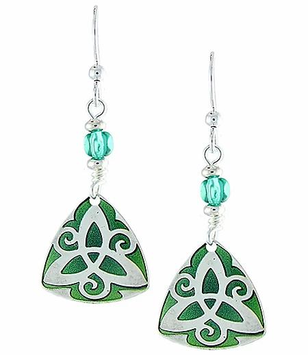 Green Trinity Earrings, pair