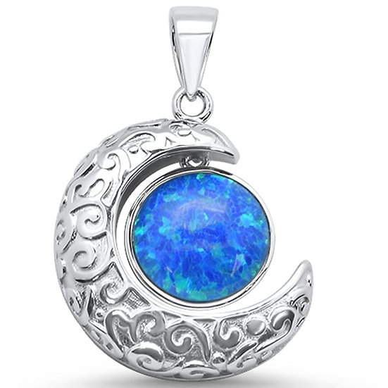 Blue Opal Crescent Moon Necklace
