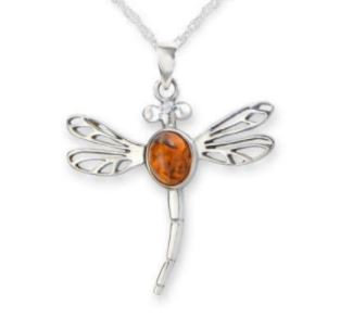 Outlander Dragonfly in Amber Necklace