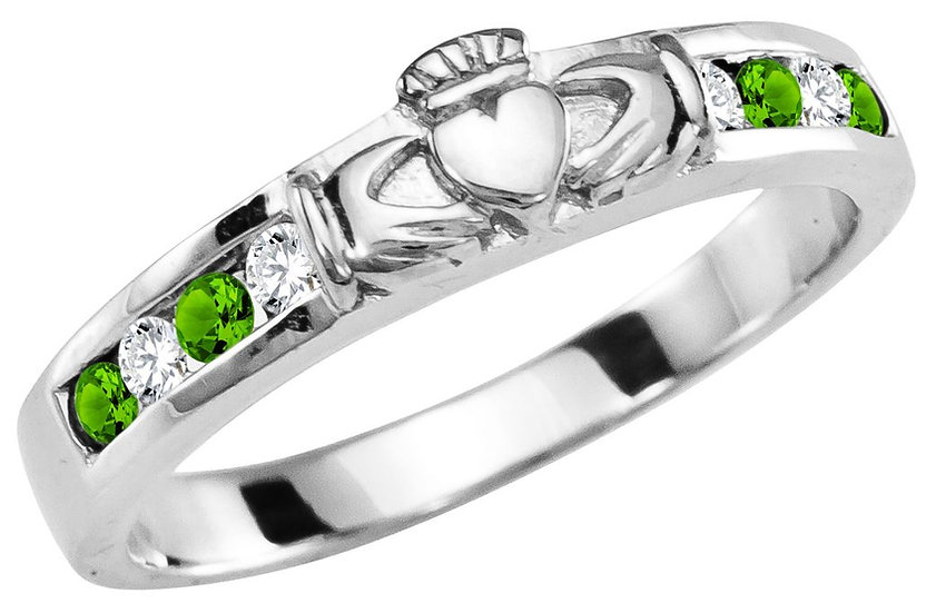 White Gold, Diamond, and Peridot Claddagh Band