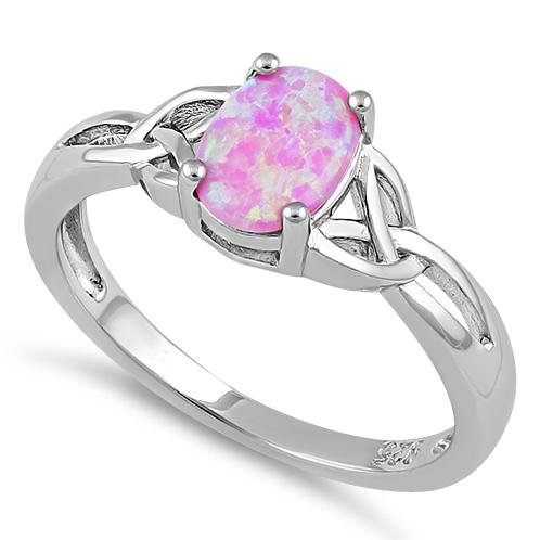 Trinity Ring with Pink Opal CZ