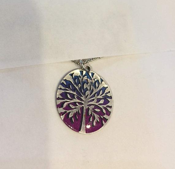 Tree Blue / Magenta Necklace