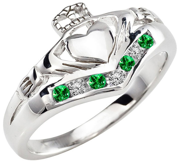 White Gold, Emerlad and Diamonds Claddagh