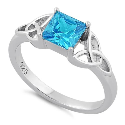 Trinity Ring with Blue Topaz CZ
