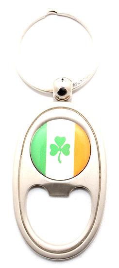 Ireland Clover Tri Color Bottle Opener Keyring