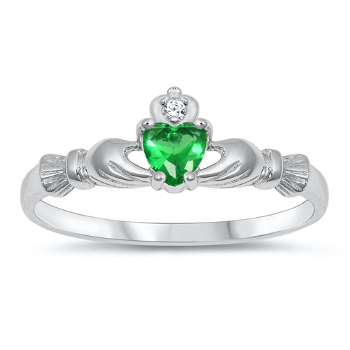 Claddagh Ring with Emerald and Clear CZ