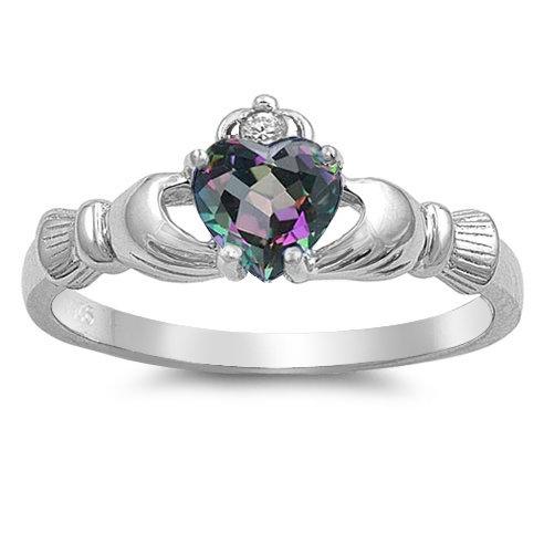 Claddagh Ring with Rainbow Topaz Cubic Zirconia