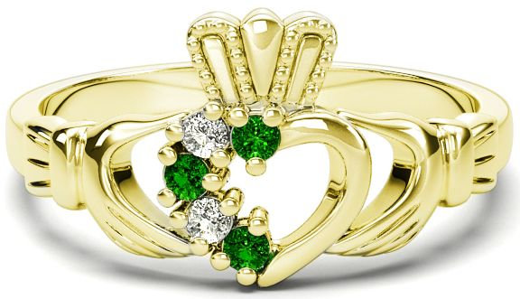 Gold, Emerald, and Diamonds Claddagh