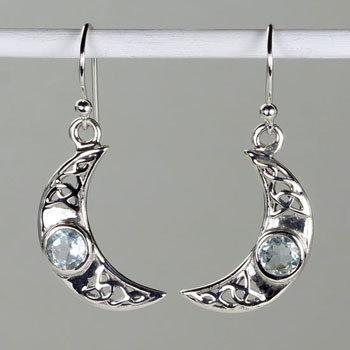 Blue Topaz Crescent Earrings