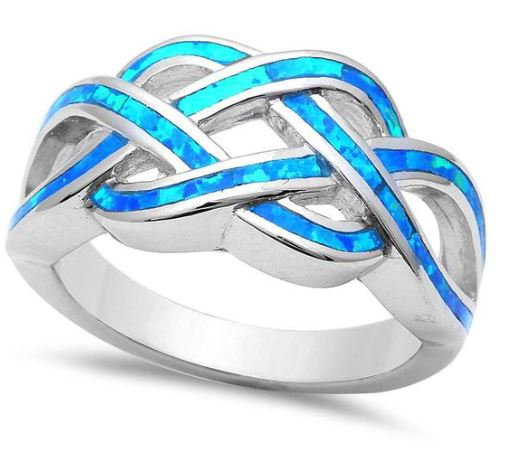 Blue Opal Infinity Knot Ring