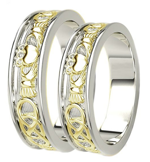 Two tone 10k Gold Claddagh Ring Set