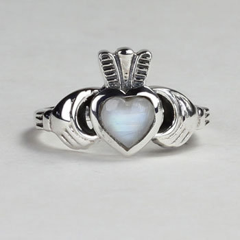 Moonstone Claddagh Ring