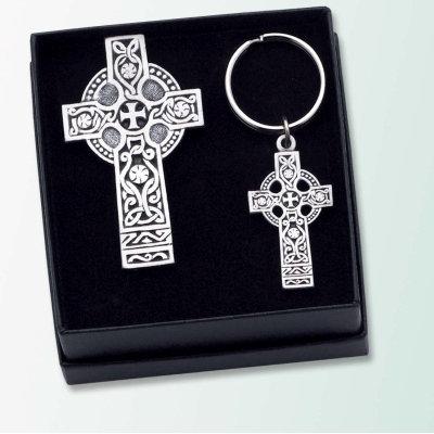Celtic Cross Keychain and Visor Clip Gift Set