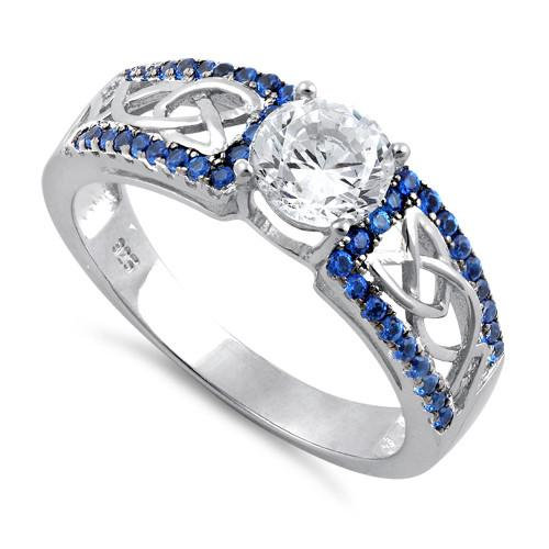 Trinity Sparkle Ring Sapphire CZ with Clear CZ's