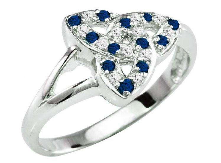 Diamond and  Sapphire Trinity Ring