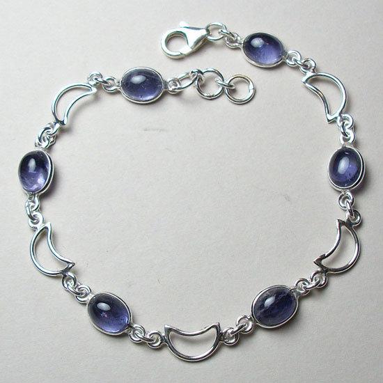 Iolite Crescent Moons Bracelet