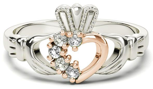 Gold, Rose Gold, and Diamond Claddagh