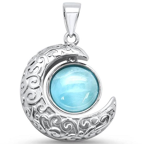 Larimar Crescent Moon Necklace