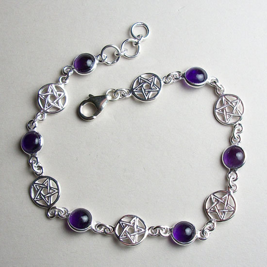 Amethyst Pentacles Bracelet