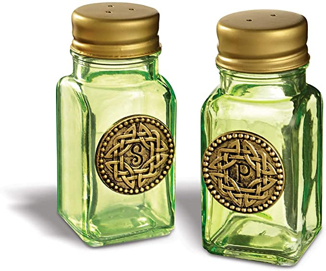 Celtic Green Salt and Pepper Shakers