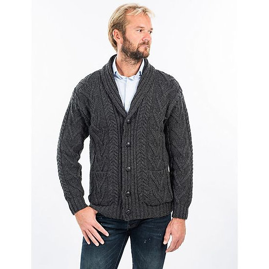 Mens Aran Cable Shawl-Collar Cardigan Sweater