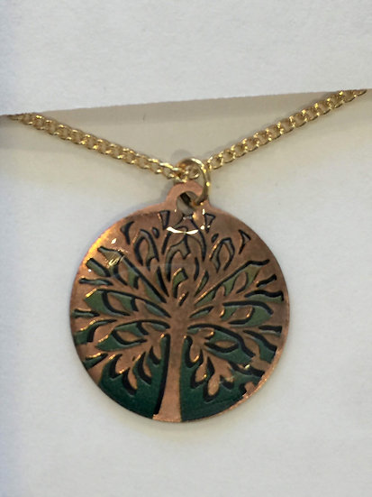 Tree Peach / Green Necklace