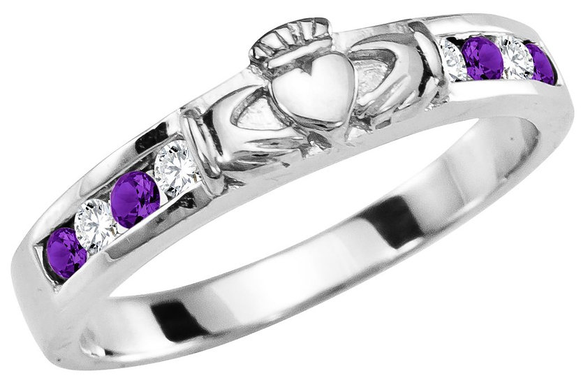White Gold, Diamond, and Amethyst Claddagh Band