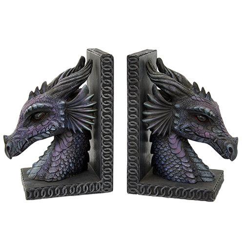 Purple Dragon Bookends Set