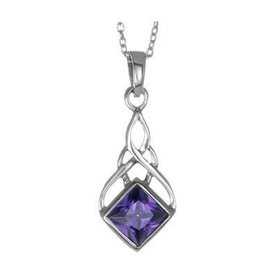 Amethyst Diamond Shape Necklace