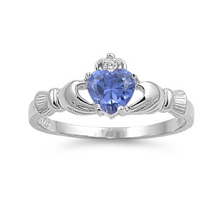 Claddagh Ring with Tanzanite Cubic Zirconia