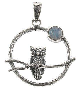 Owl and Moonstone Pendant