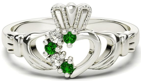 White Gold, Emerald, and Diamonds Claddagh