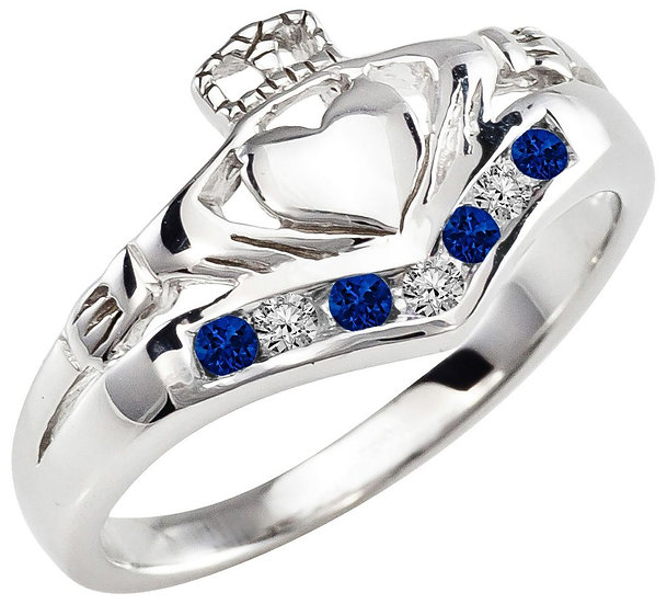 Sapphire and Diamonds Claddagh