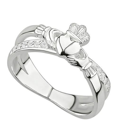 Claddagh Crossed with Crystals Ring