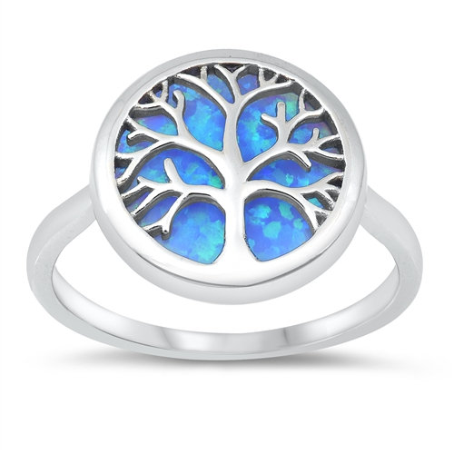 Ring: Tree of Life w. Blue Opal