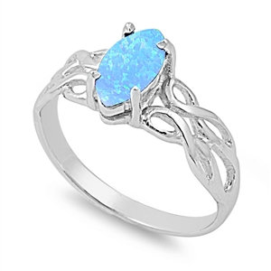 Knot Ring with Blue Opal