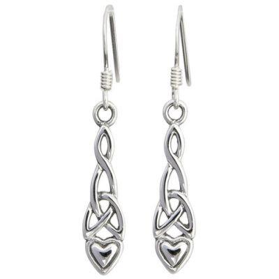 Heart Drop Trinity Knot Earrings