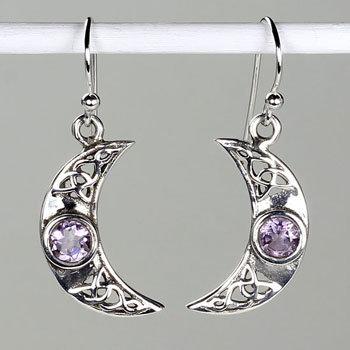 Amethyst Crescent Earrings