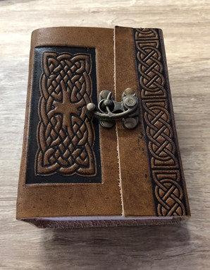 Leather Knot Journal with Lock Brown & Black
