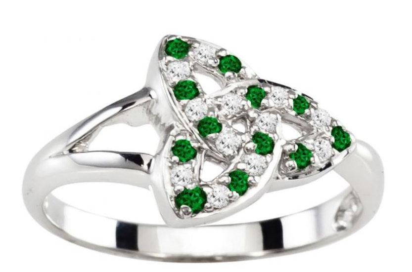Diamond and Emerald Trinity Ring