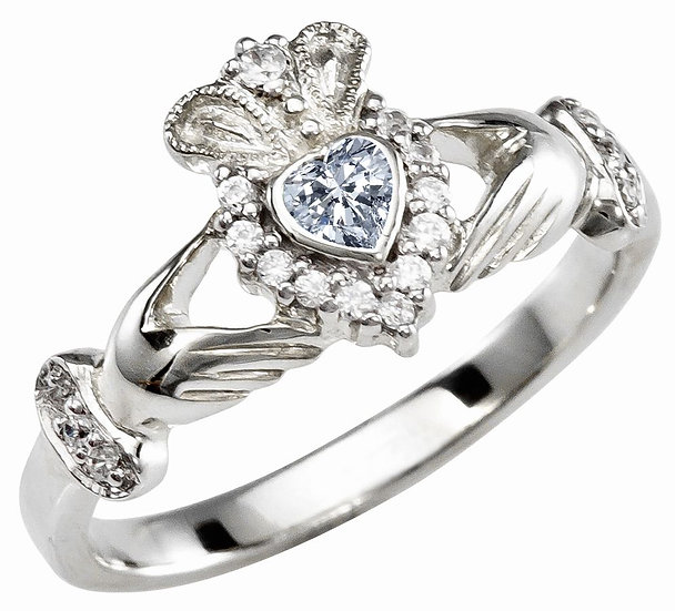 White Gold and CZ Claddagh