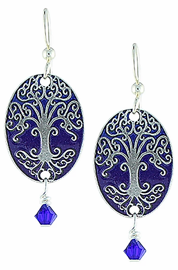 Cobalt Tree of Life Earrings