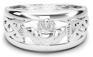 White Gold Claddagh Ring, Unisex