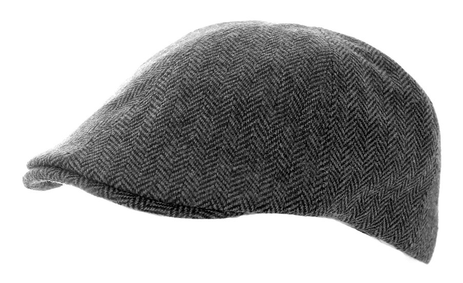 Tweed Hat, Grey herringbone