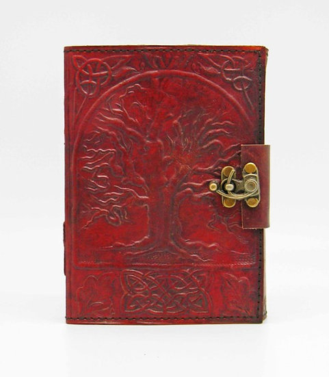 Leather Tree of Life Journal with Lock Medium