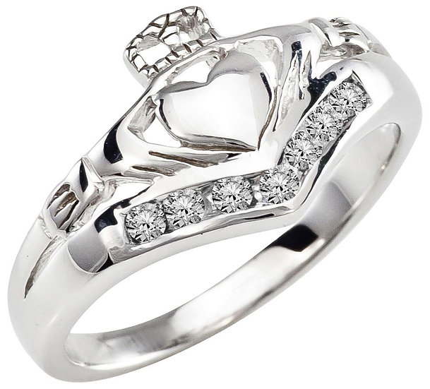 White Gold and Diamonds Claddagh