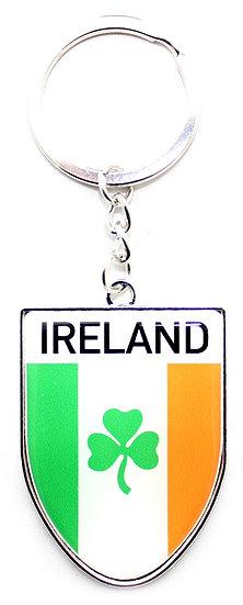 Ireland Tri-Color Shamrock Shield Keyring