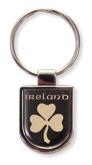 Ireland Black and Gold Shield Keyring