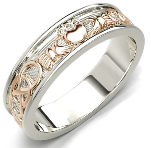 14k White Gold and Rose Gold Claddagh