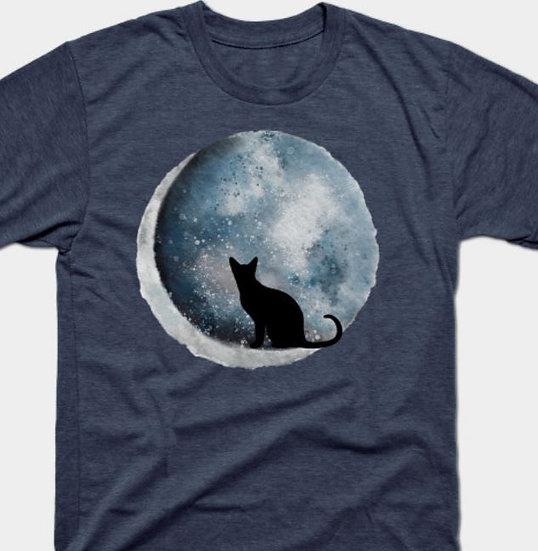 Cat and Crescent Moon T-shirt